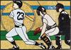 stained glass ballpark scene